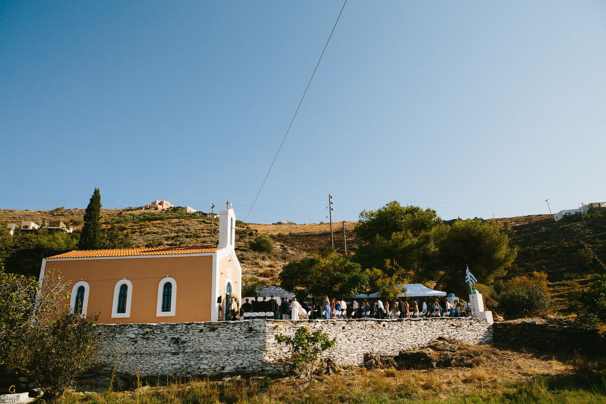 Church view during wedding day on Kea Island, Greece