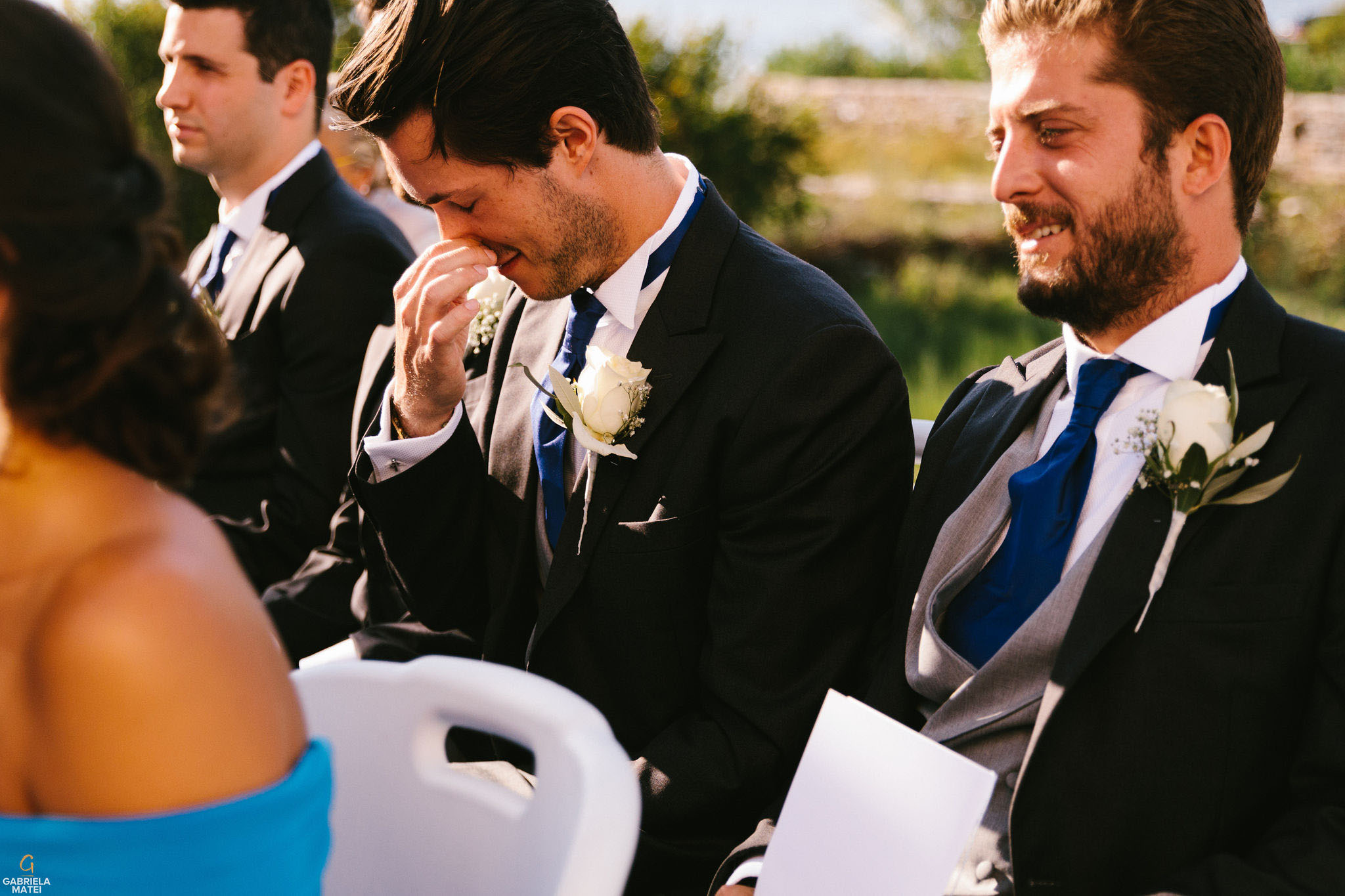 Best man crying at wedding