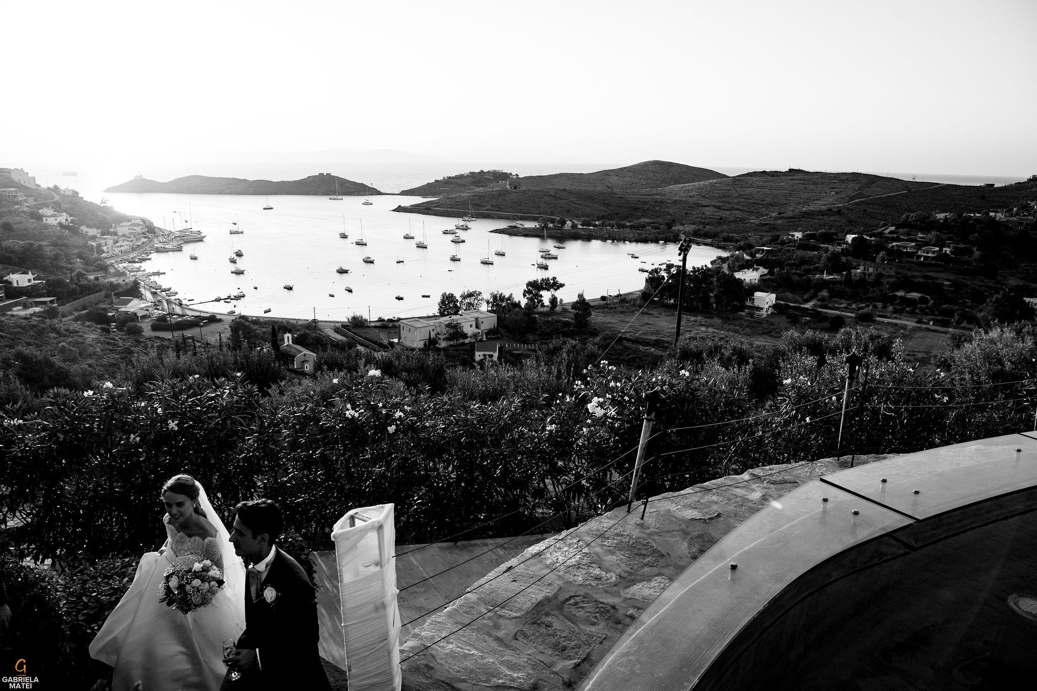 View of the Agean Sea from Aegis Suites wedding venue on Kea Island