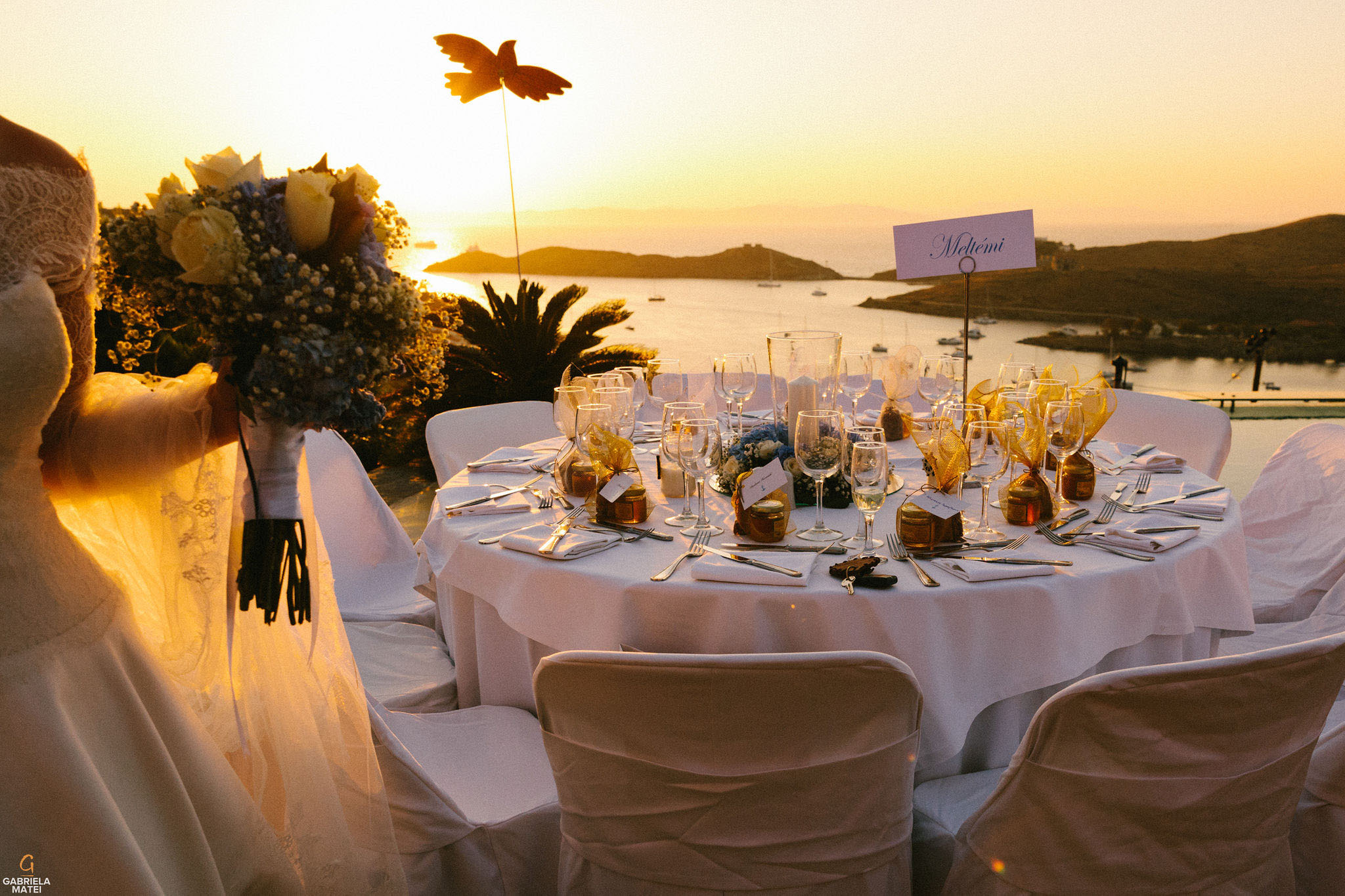 Aegis Suites wedding location on Kea Island, wedding decor