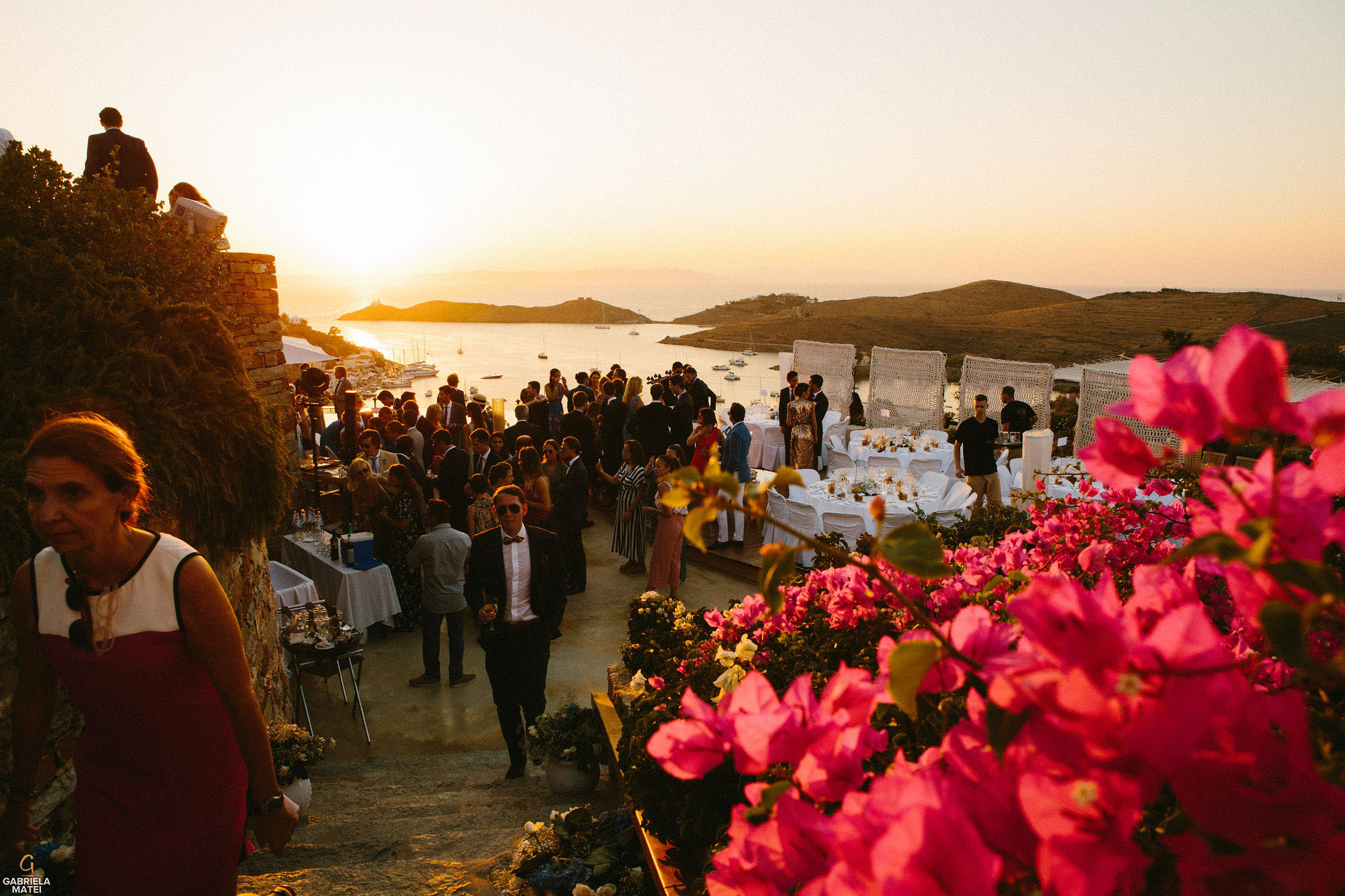 Wedding cocktail party with view towards the Aegean Sea on Kea Island