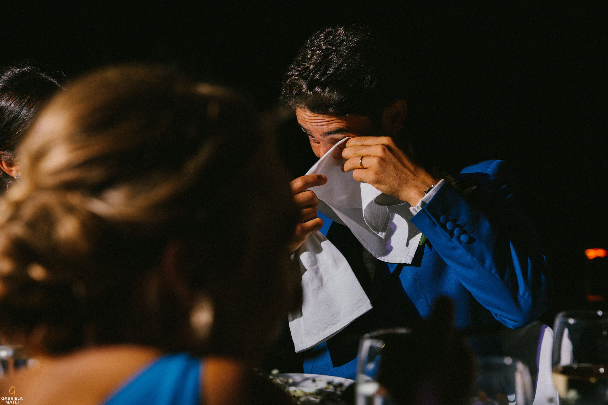Groom crying during wedding speeches