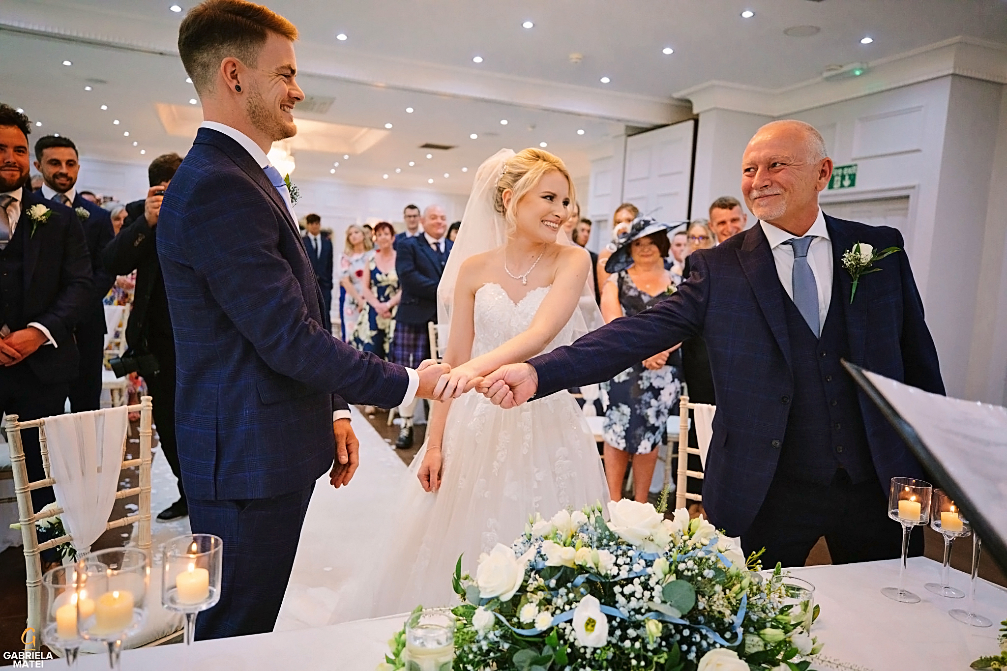 Father gives away his daughter during civil ceremony