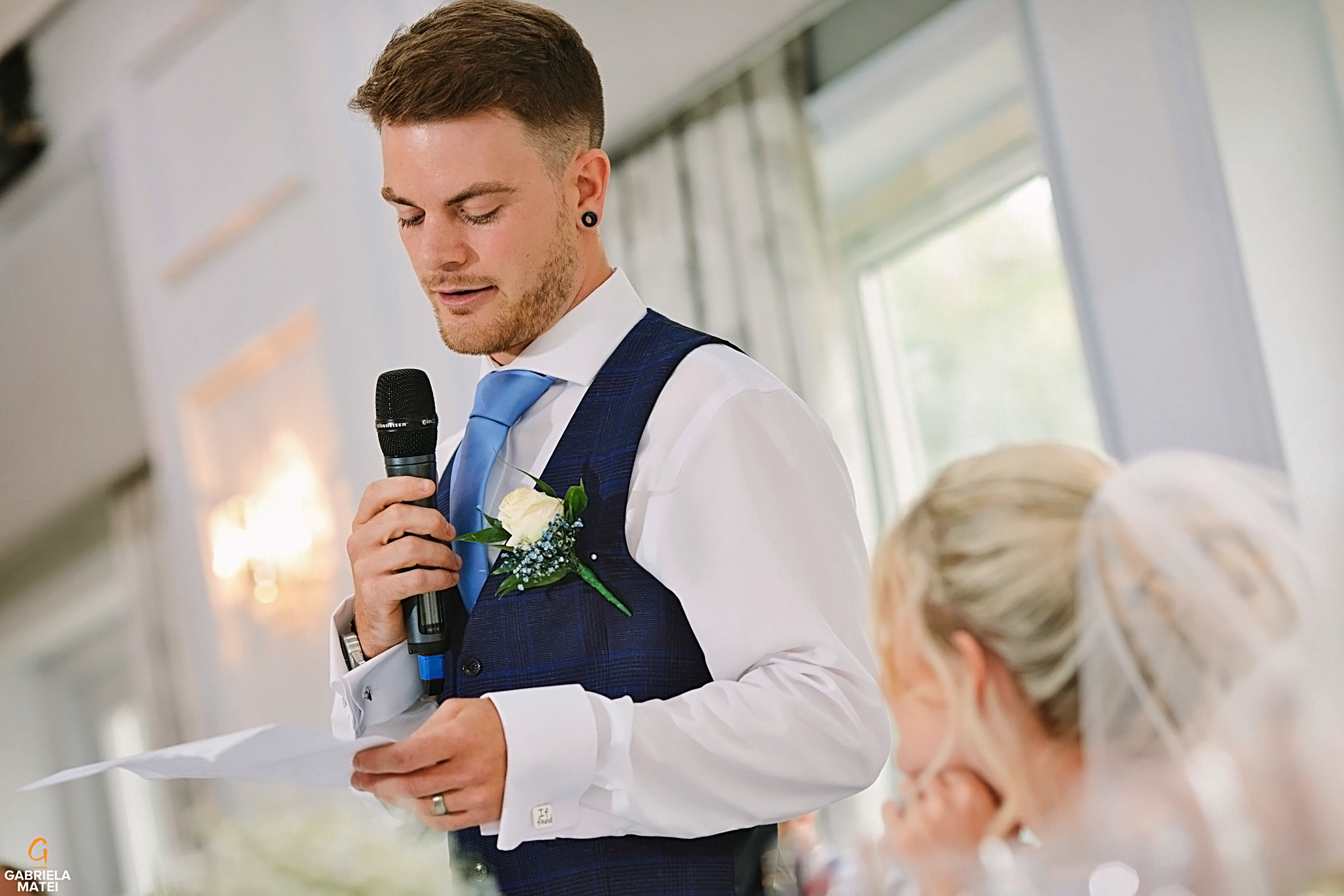 Groom having a speech during wedding reception in London