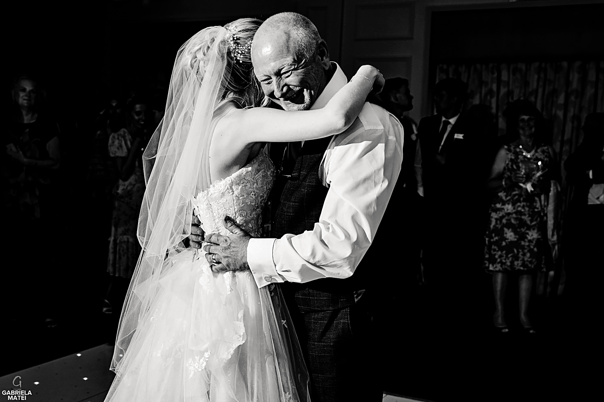 Emotional father daughter dance at wedding reception in London