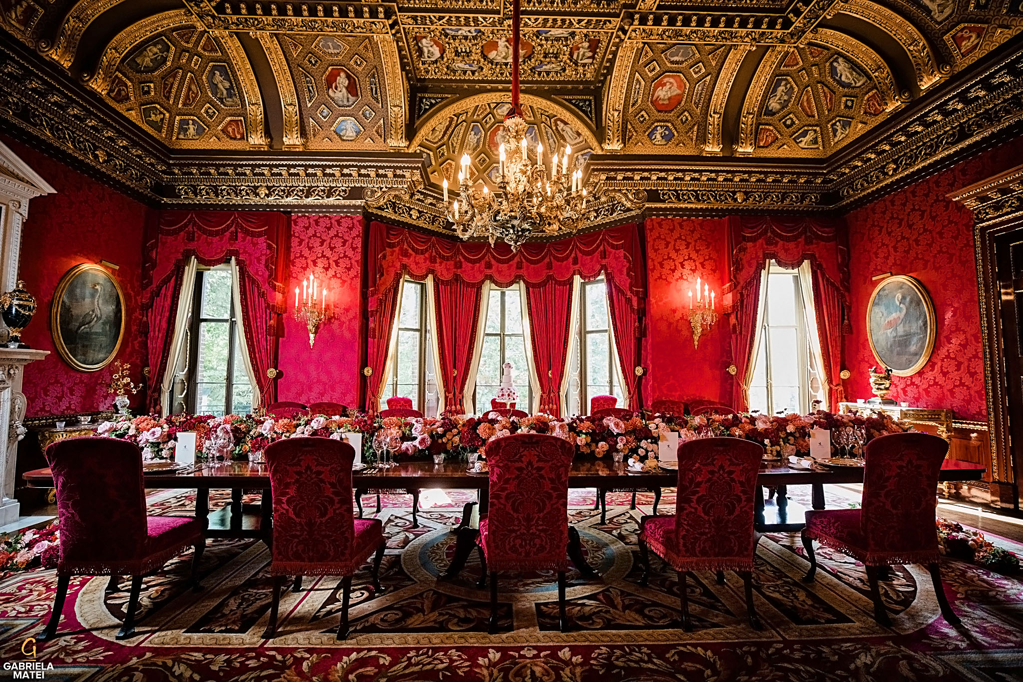 Breathtaking wedding wedding decor in William Kent Room at The Ritz London