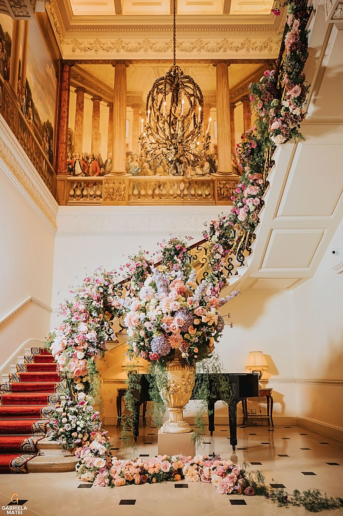 Elegant Wedding Floral Design for stairs by Paul Thomas at The Ritz hotel in London