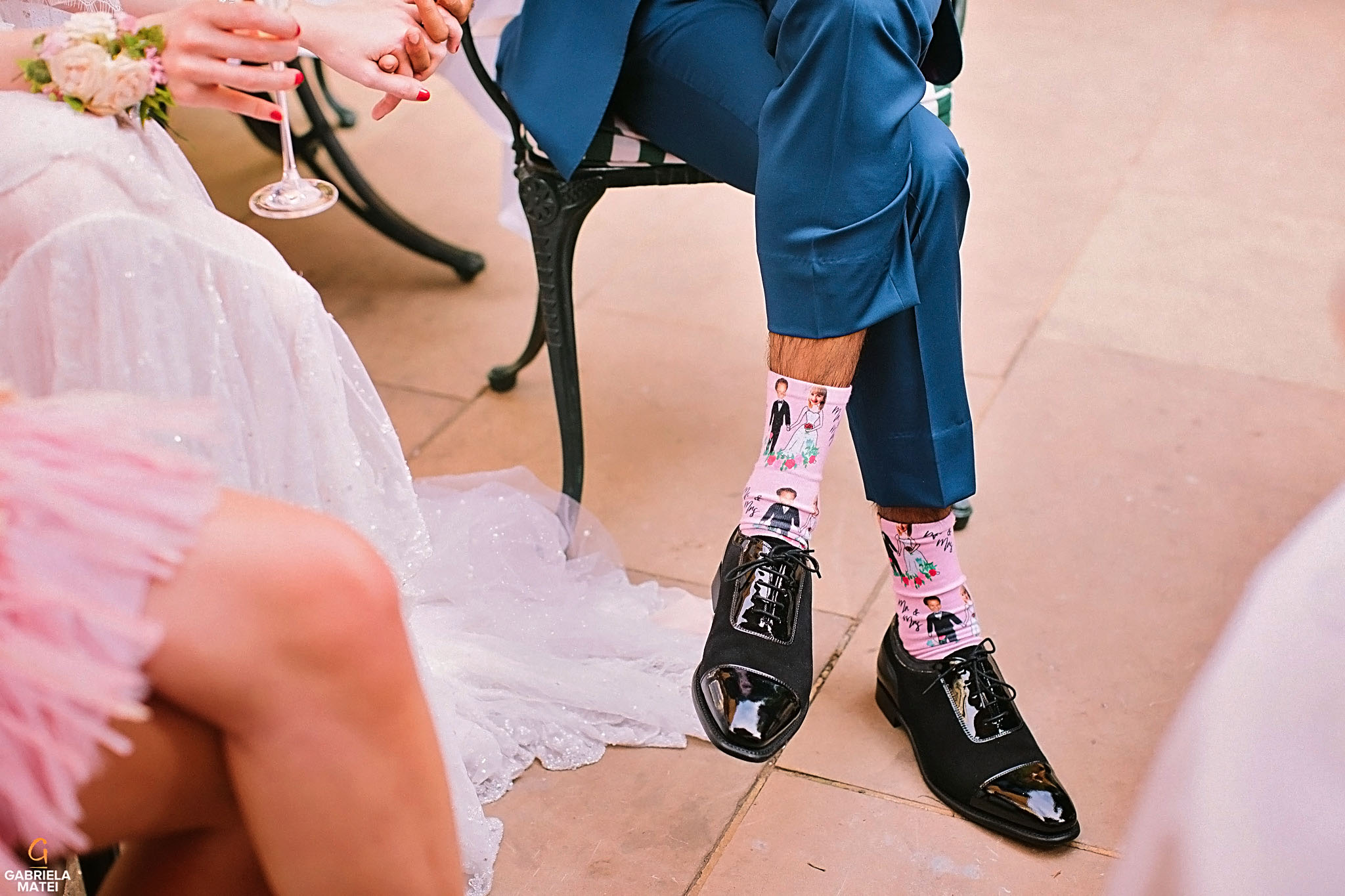 Detail shot of the groom's funny wedding socks