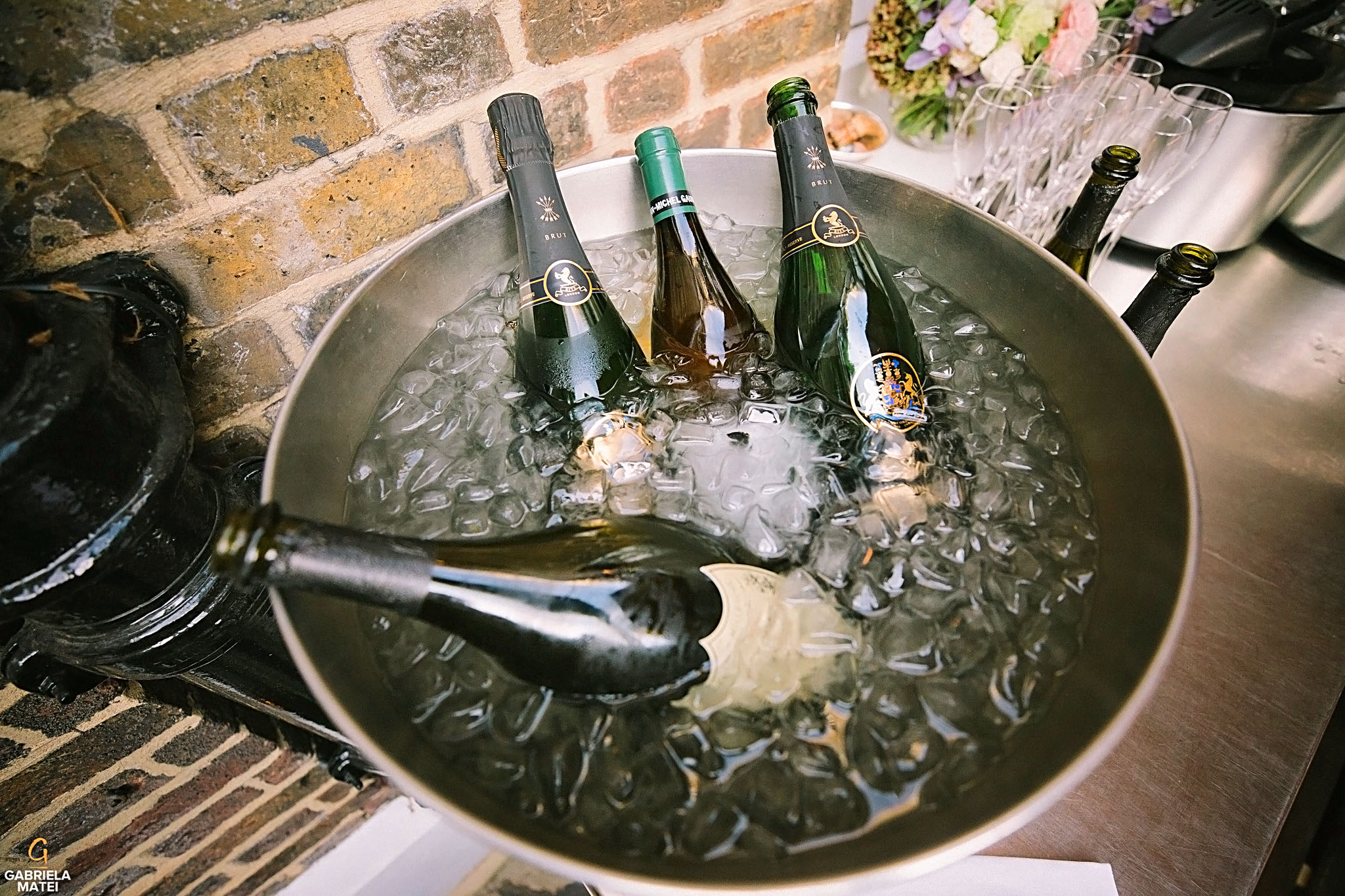 Fine wine in ice bucket at wedding reception at The Ritz Hotel in London