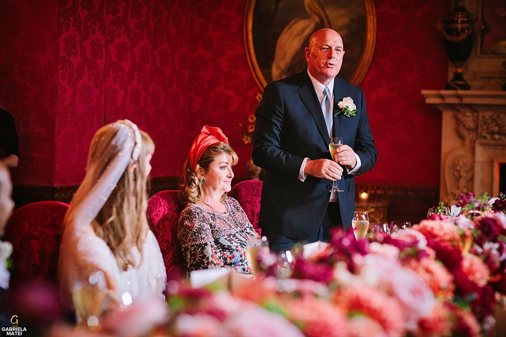 Wedding speeches during wedding at The Ritz, lomdon