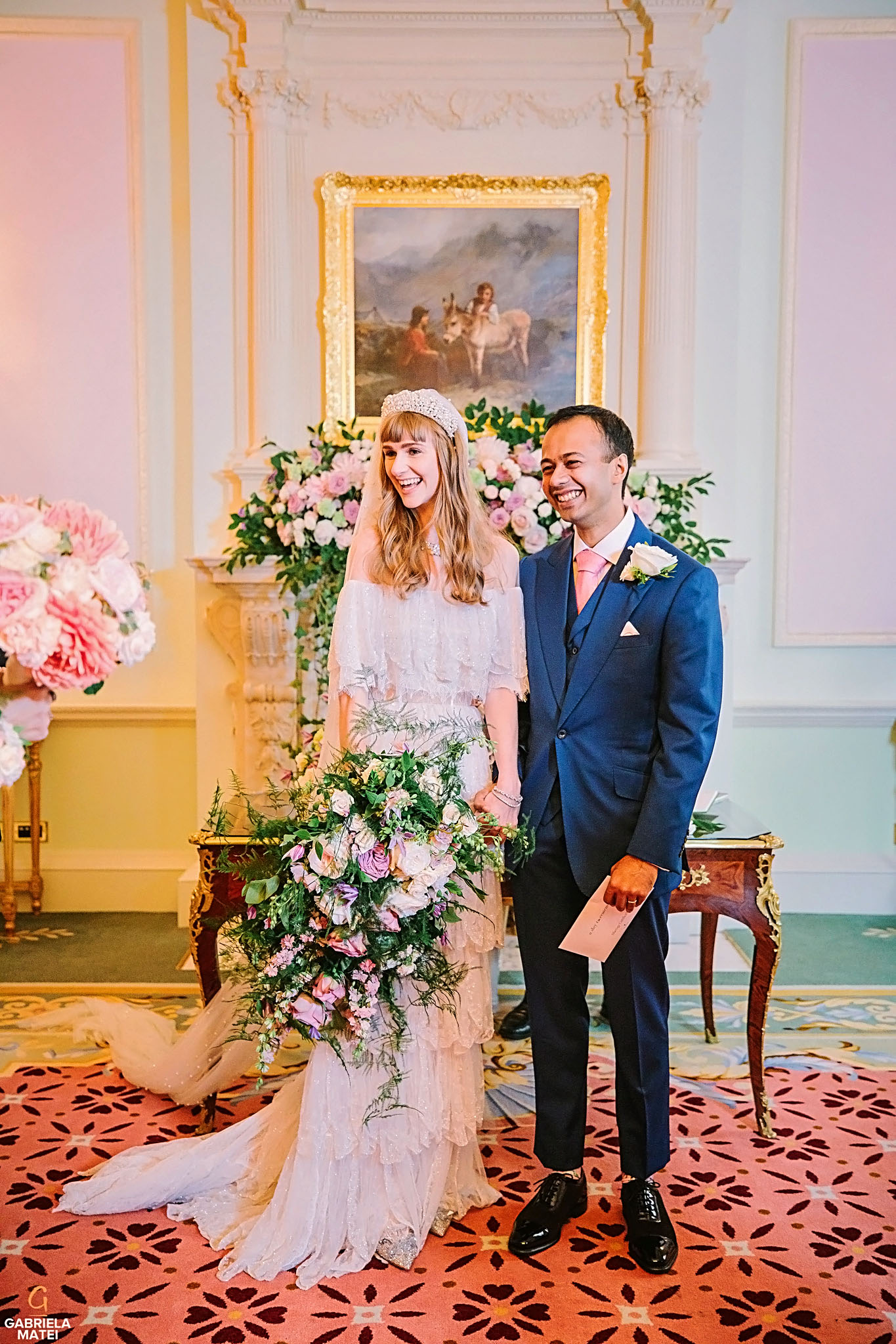Gorgeous wedding couple in The Music Room at The Ritz hotel in London