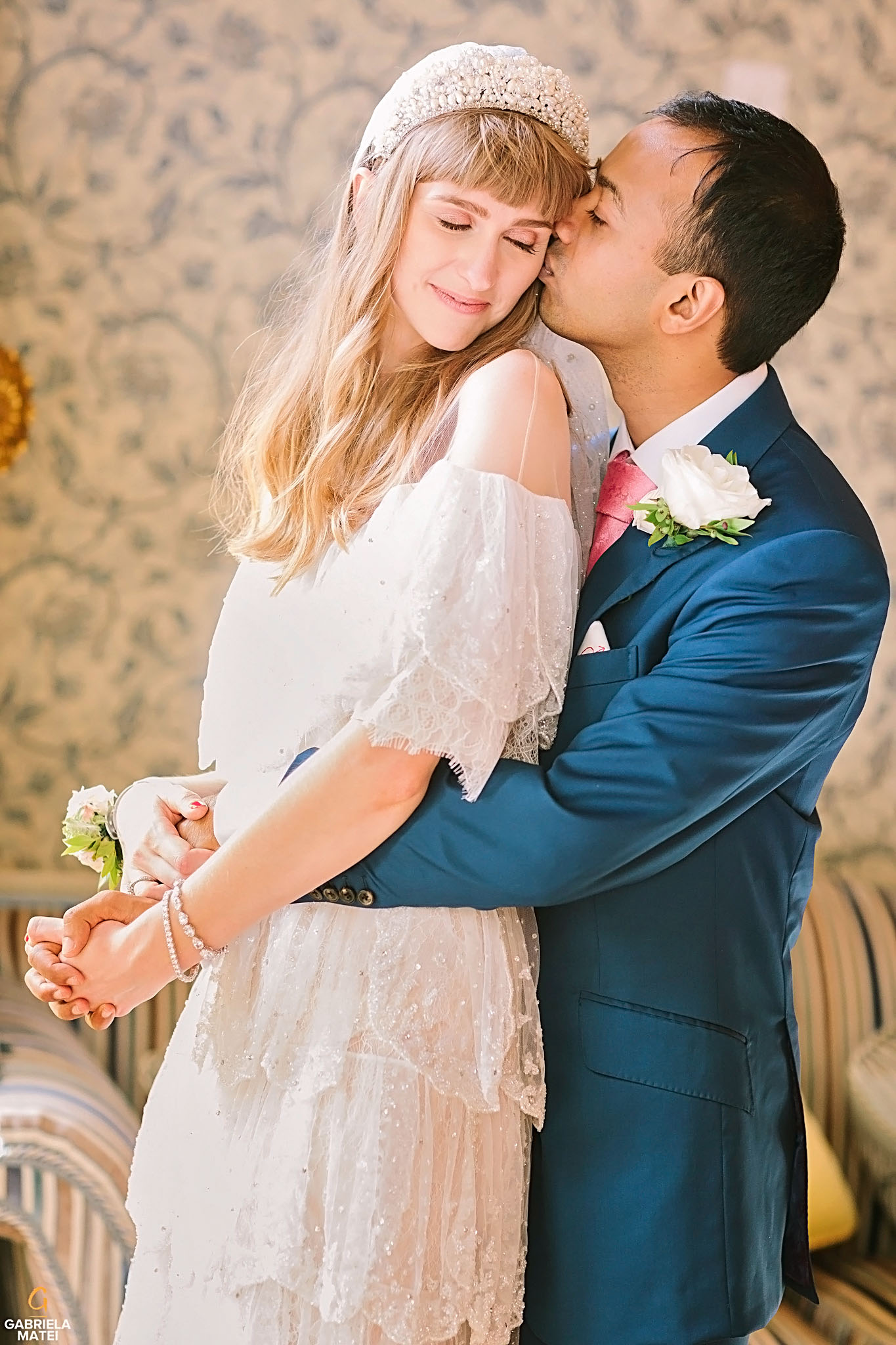 Couple portrait during wedding day at The Ritz hotel in London
