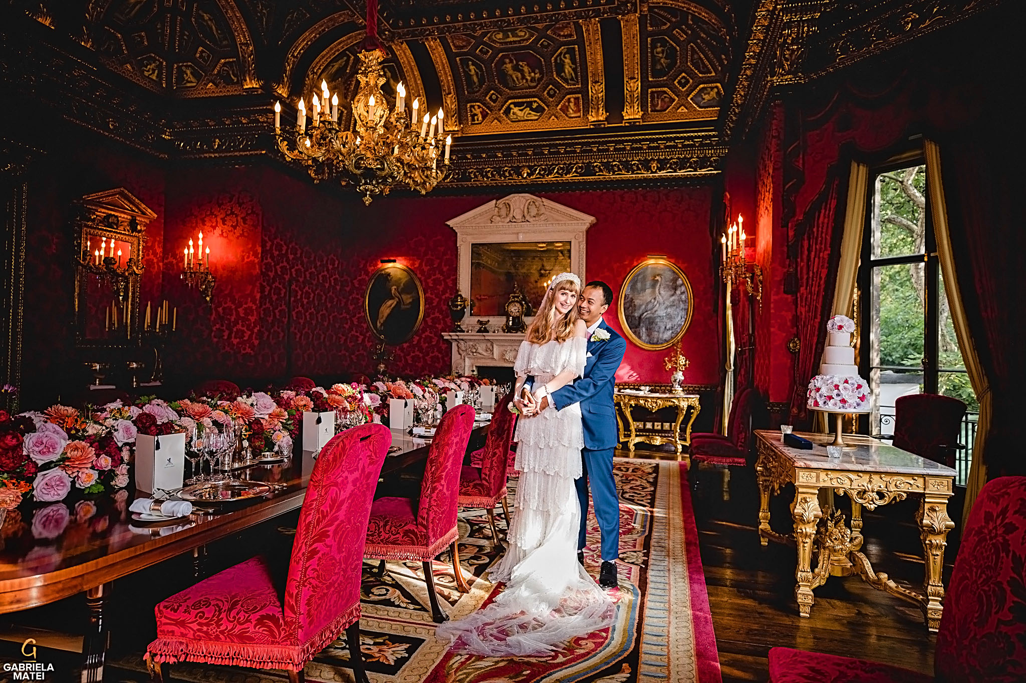 Stunning couple portrait in William Kent House Room at The Ritz hotel in London, wedding cake