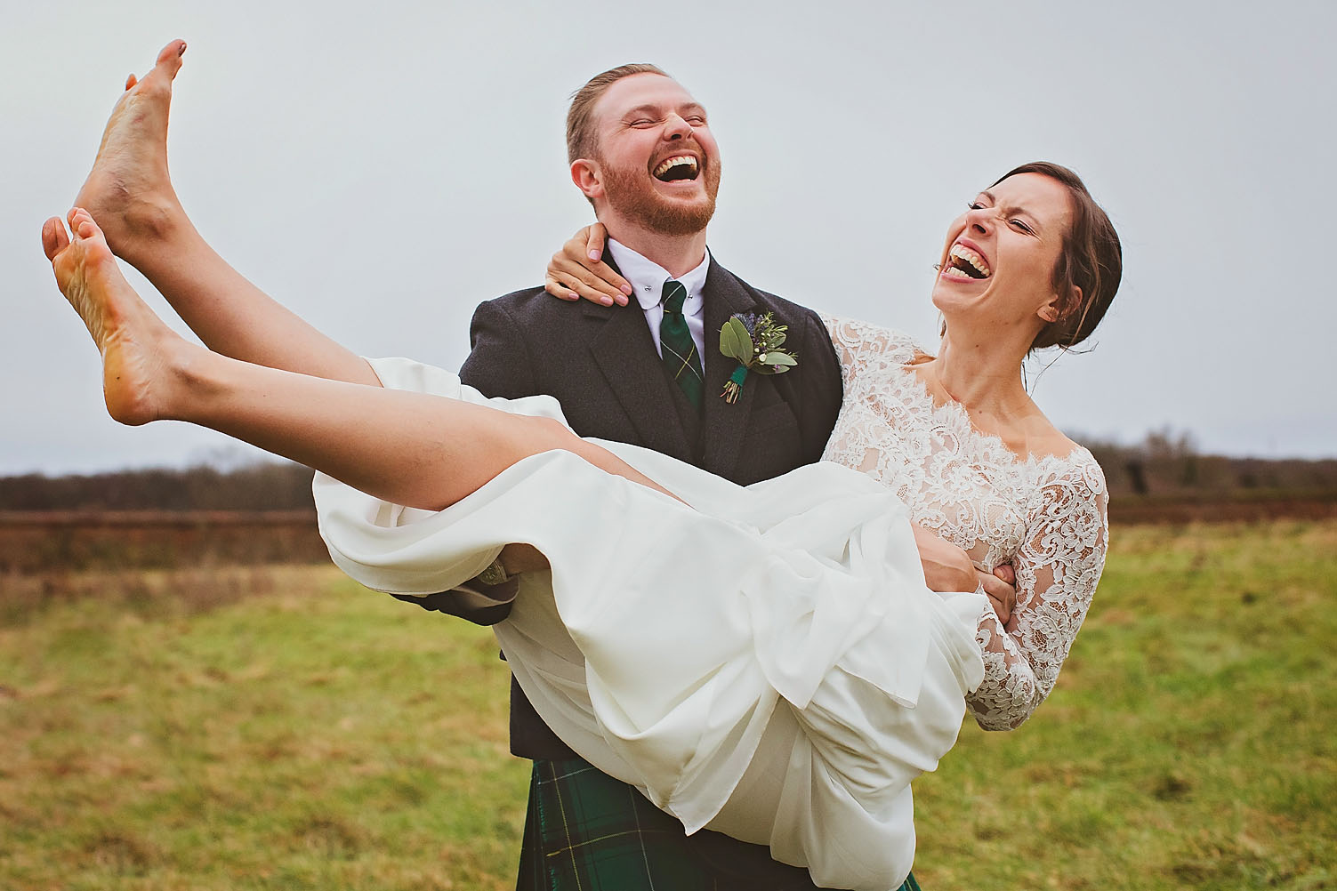 bride and groom laughing, bear foot bride, lillibrooke manor