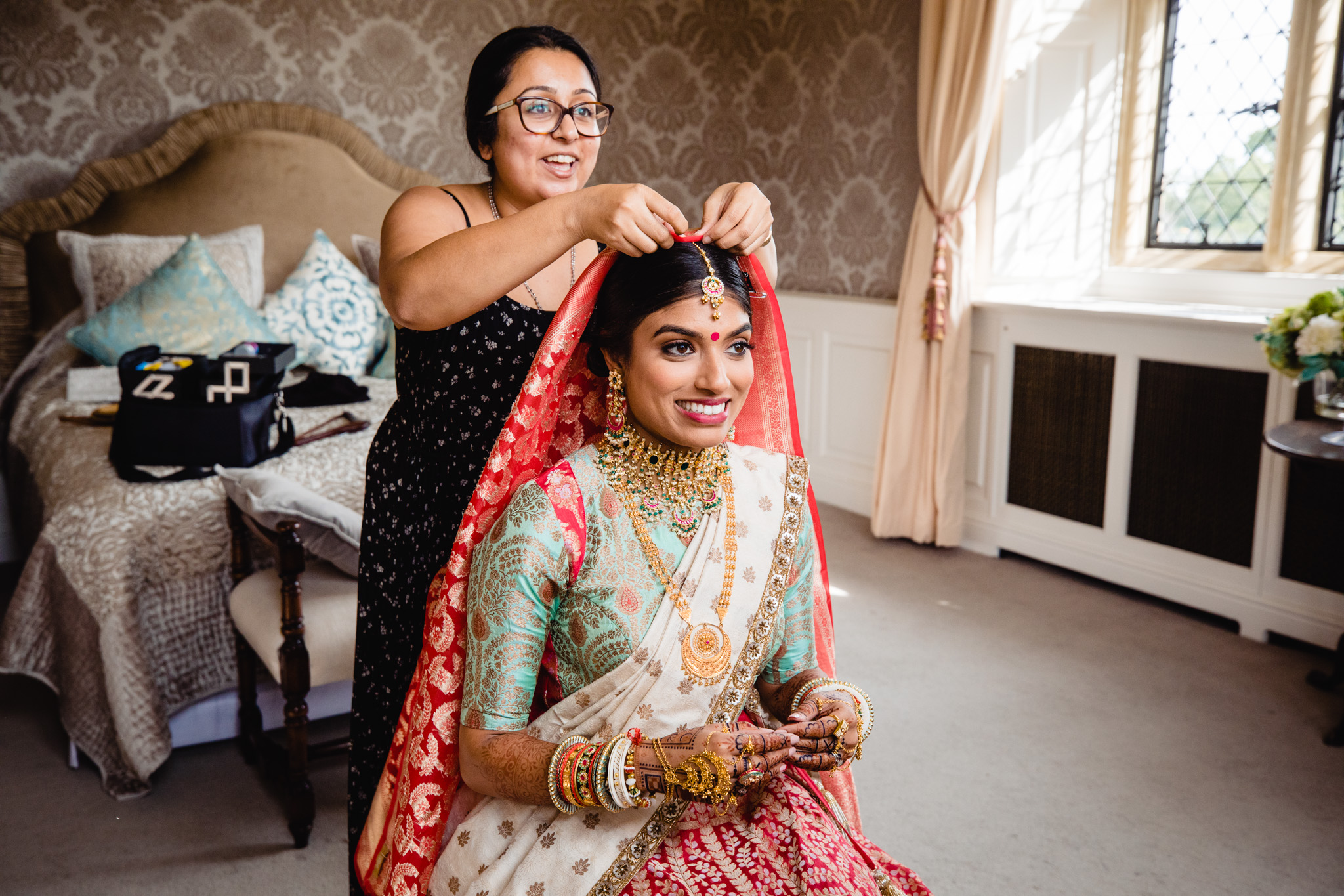 Sikh bride getting ready in Bridal Suite