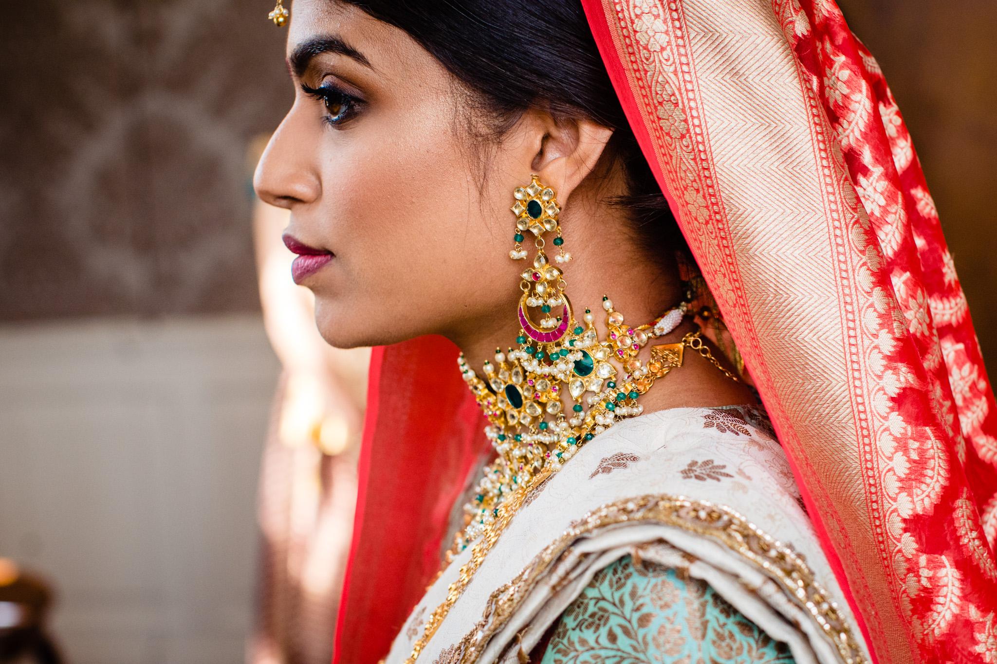 Portrait of Sikh bride during Sikh wedding, Sussex Sikh wedding photographer