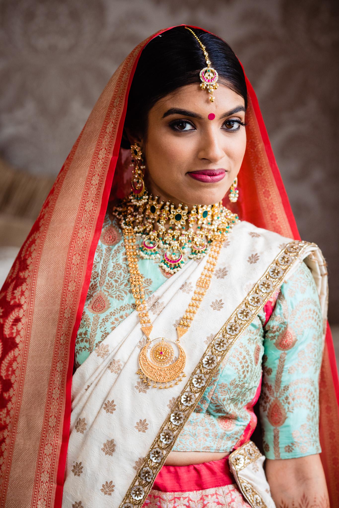 Portrait of Sikh bridal during Sikh wedding, Sussex wedding photographer