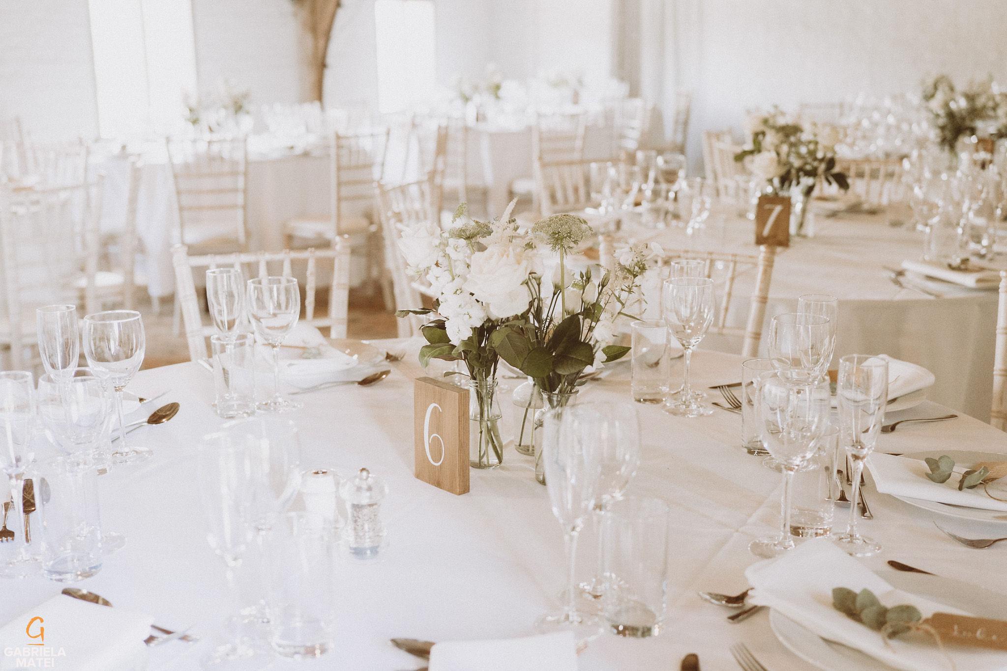 Wedding decor at South Stoke Barn wedding venue in Arundel