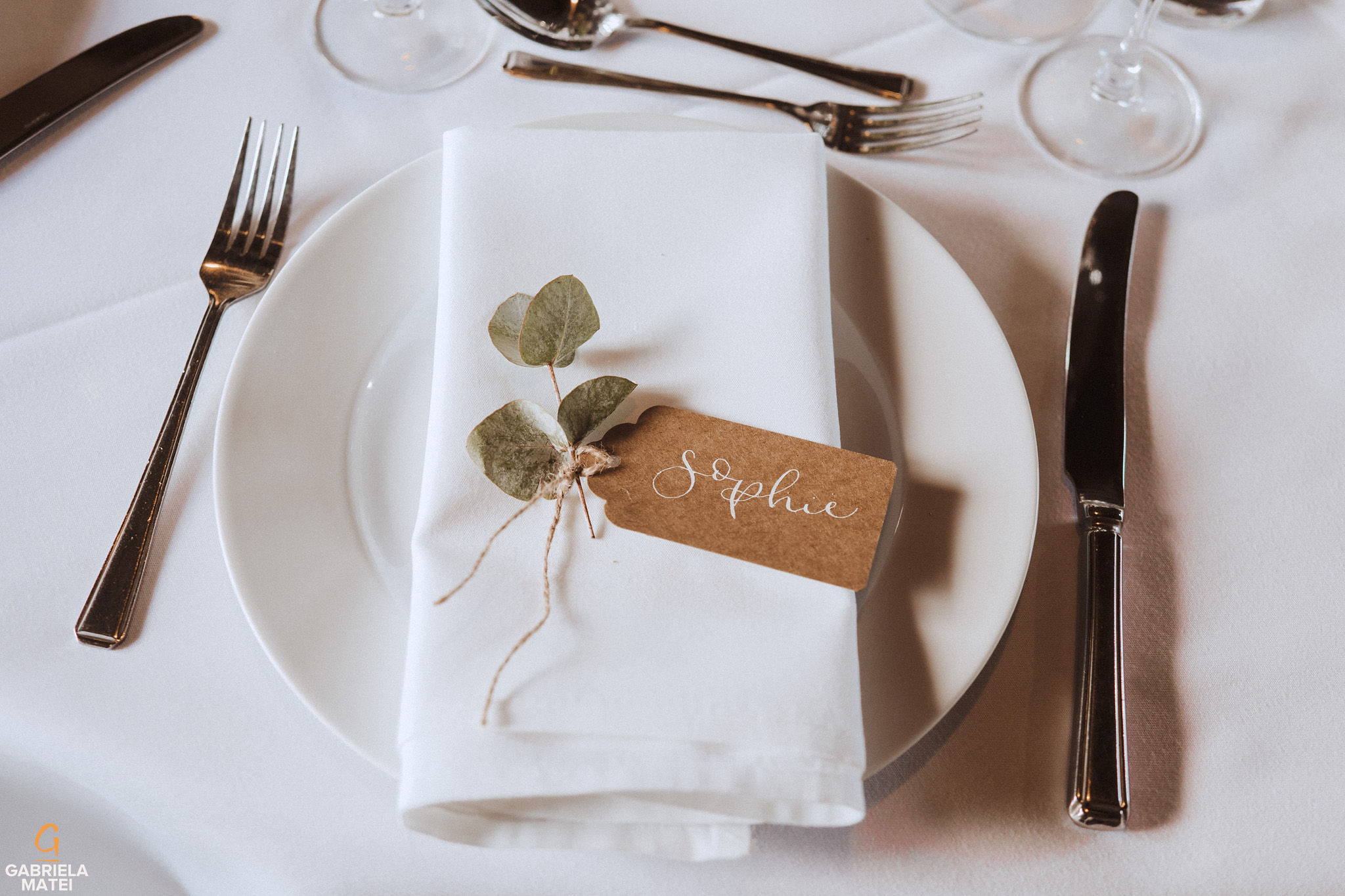 Name tag wedding details at South Stoke Barn wedding venue in Arundel