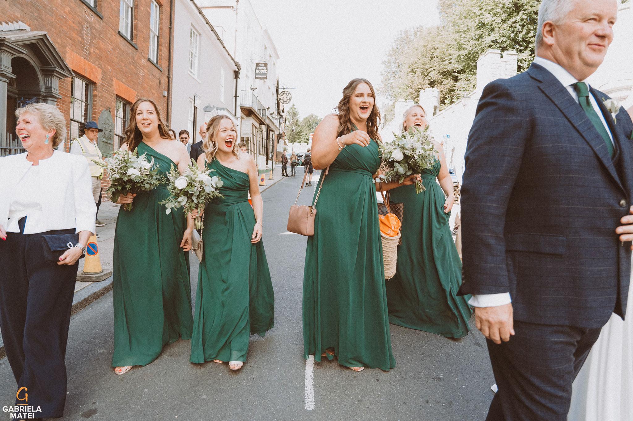 Bridesmaids walking down the High Street in Arundel
