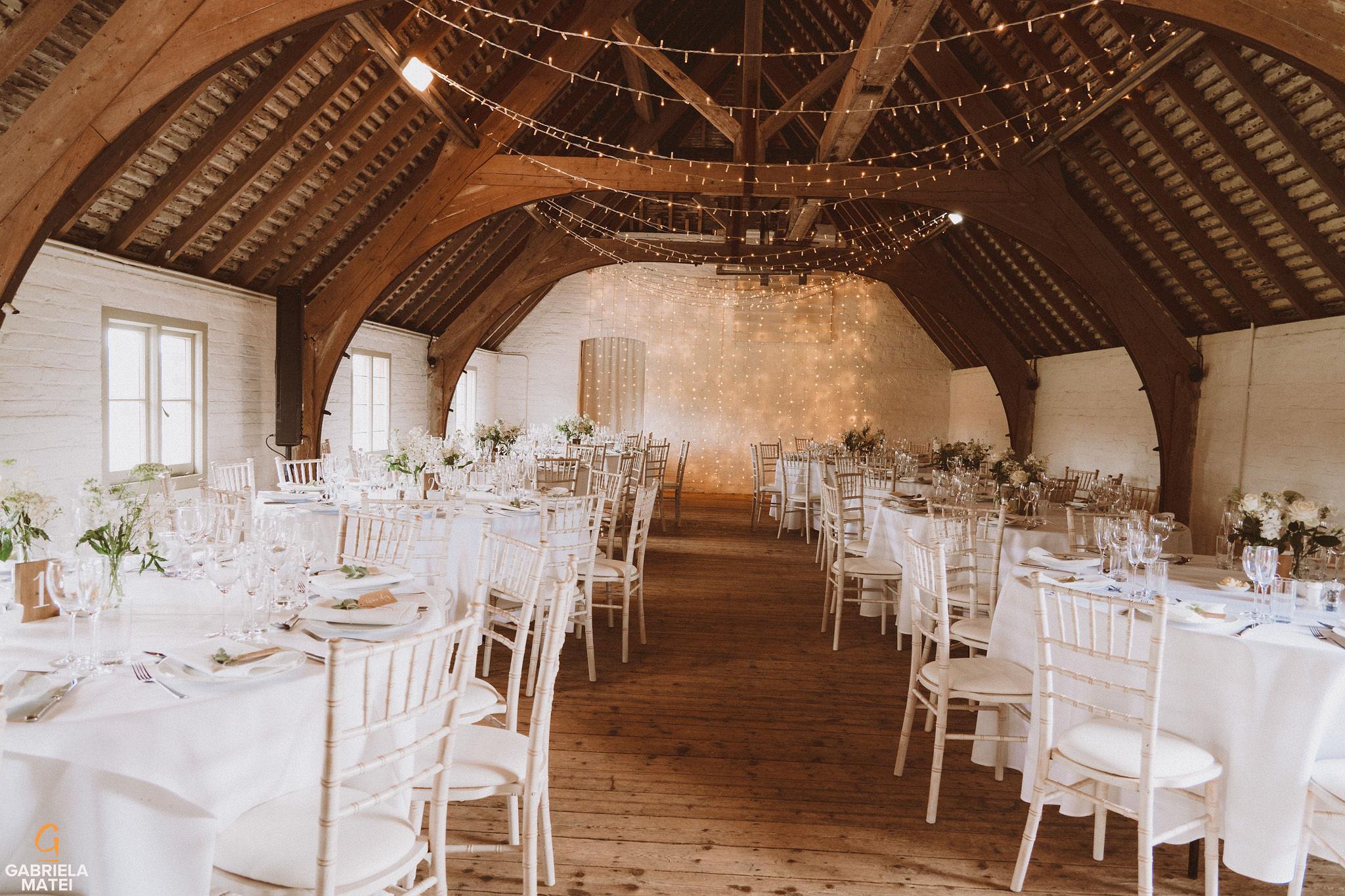 Wedding decor in South Stoke Barn wedding venue, Arundel